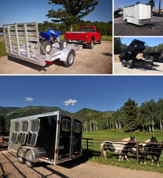 Clockwise Top Left: Featherlite Trailer 1693 lightweight utility trailer, Pace American single axle Concession Enclosed Trailer, Innovative Trailer Mfg. Scissor Hoist Dump Trailer, Featherlite Trailers 9409 3 Horse Trailer